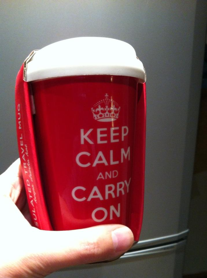 Nov 21st  adrianmasters84 Mrs M has bought me a new travel mug. She has a cruel sense of humour.