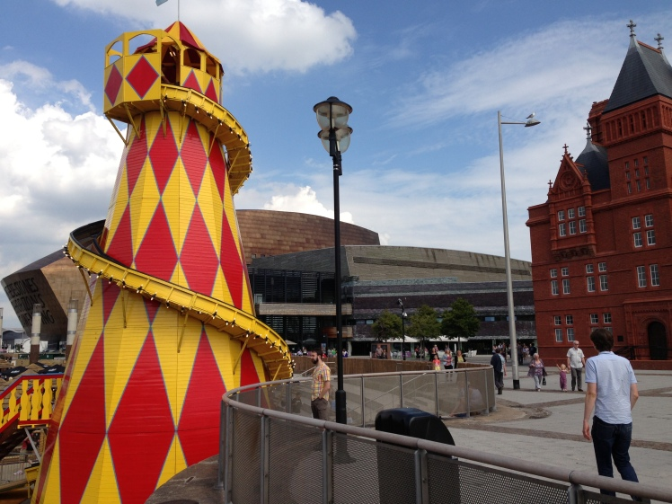 Helter Skelter with Wales Millennium Centre and Pierhead building in background