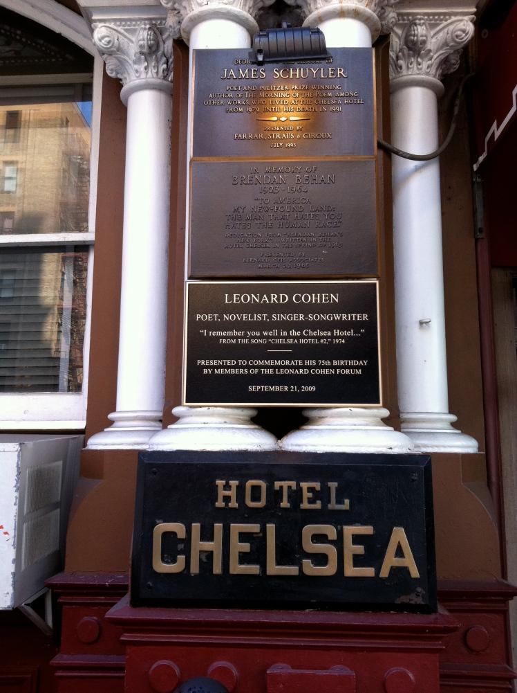 Chelsea Hotel, NYC: Leonard Cohen plaque