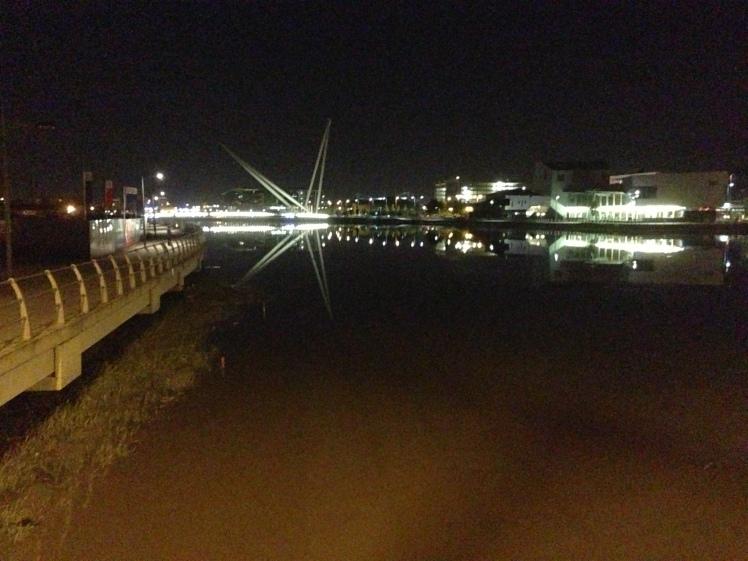 Newport's new footbridge bridge looking like a star