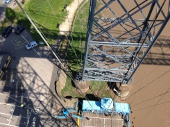 Newport Transporter Bridge halfway up