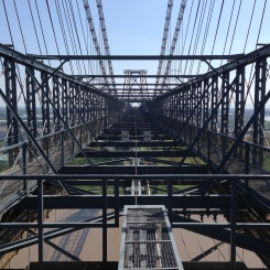 View of the top of Newport Transporter Bridge