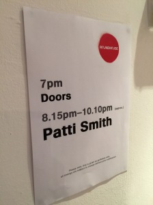 Patti Smith show times poster