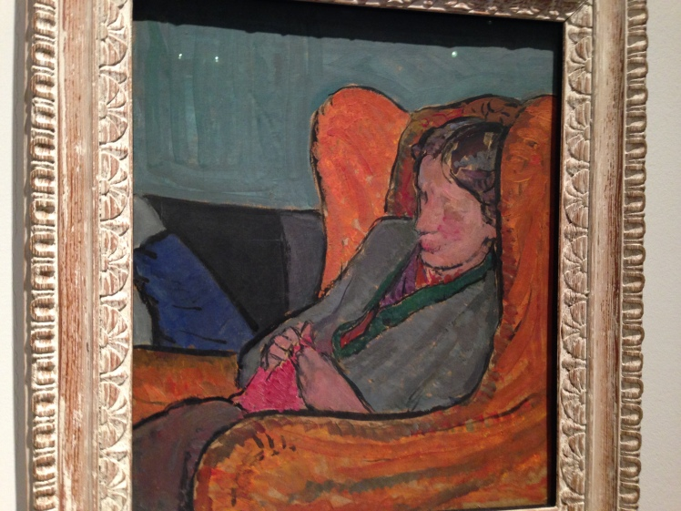 Vanessa Bell's 1912 portrait of her sister Virginia Woolf. I saw this and took this photo at the National Portrait Galley exhibition in 2014