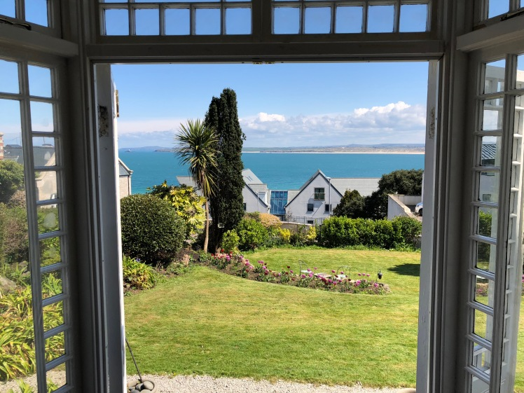 Looking out through the drawing room windows at Talland House. You can't quite see the lighthouse from the angle of my photo but it's very present.